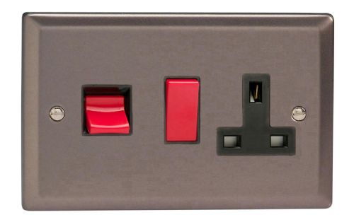 Varilight XR45PB Classic Pewter 45A DP Cooker Switch + 13A Switched Socket